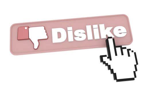 Dislike Button with Cursor - Social Media Concept.